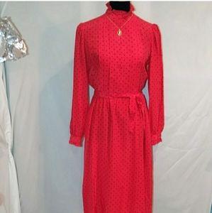 VTG adrianna papell silk 1980's polka dot dress